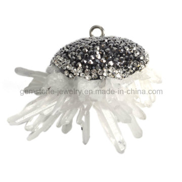 Rock Crystal Drusy Quartz Pendant Point Fashion jewellery