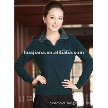 Polo neck women's cashmere sweater