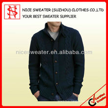 Men's wool/acrylic cardigan knitwear