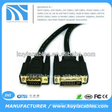 5ft Nickle plated Black dvi-D dual link to vga wire