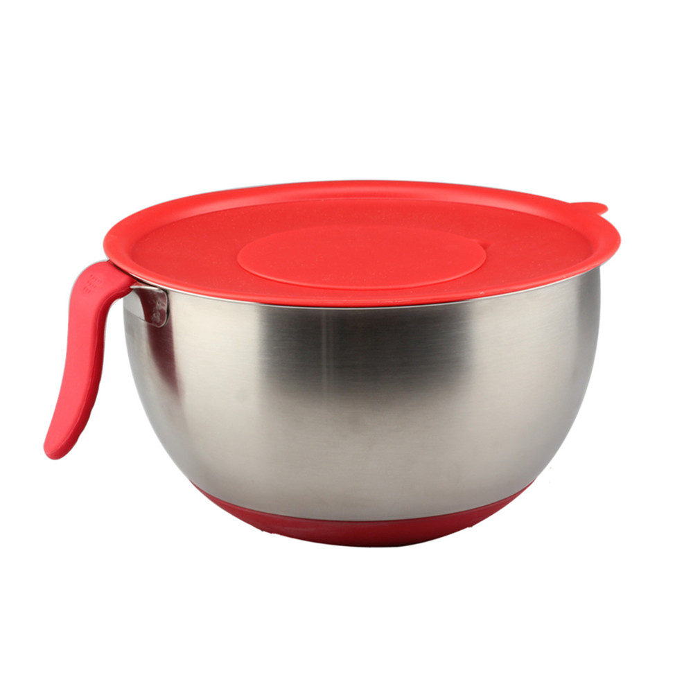 Red Silicone Base Handle Lid Mixing Bowl