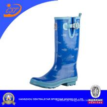 Botas de chuva de borracha azul Ladie antiderrapante moda (68053)