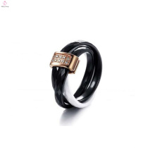 2015 cadeau de noël, noir et blanc tricyclique, anneau en céramique pavé de cristal pour les femmes