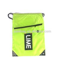 210D Polyester String Bag With Front Zipper Pocket
