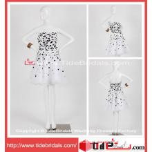 2014 Sexy Short Mini White Black Custom Made Organza Cocktail Dress (TC08081)