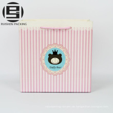 Rosa Streifendruckkraftpapier Geschenktaschen Nahrungsmittelgrad