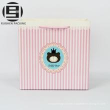 Pink stripe print kraft paper gift bags food grade