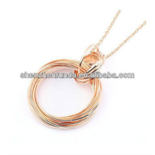 Art und Weise rosafarbenes Gold überzogene hängende doppelte runde Ring-hängende Halskette für Frauen Fertigung