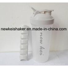 Nueva botella patentada de Shaker de proteínas con caja de pastillas