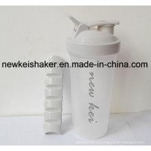 Nova garrafa patenteada de proteína Shaker com caixa de comprimidos