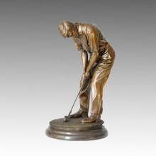 Sport Statue Golf Männlich Bronze Skulptur, Milo TPE-026