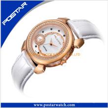 Pérola de vidro de safira multifuncional relógios elegância relógio de pulseira de couro de senhoras