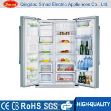 refrigerador de acero inoxidable con dispensador de agua de máquina de hielo y minibar