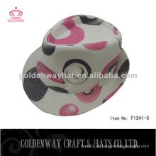 Baumwoll-Partyhut rosa Fedora-Hüte Blumenmuster für Dame-Sommerhüte