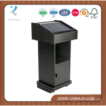 Customized Floor Standing MDF Podium with Cabinet, Hidden Wheels