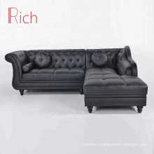 Modern Home Furniture Living Room Corner Sofa Set Black Couch Leather Sectional Sofa