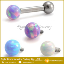 316L Surgical Steel Internally Threaded Opal Ball Tragus Ear Cartilage Piercing Jewelry