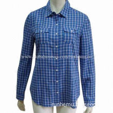 Women's Striped Casual/Dress Shirt with Long/Short Sleeves, Made of 100% Cotton and Yarn-dyed
