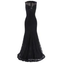 Kate Kasin Ärmellos V-Ausschnitt See-Through Rücken Spitze Schwarz Abendkleid Prom Party Kleid KK001047-1