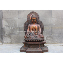 Large Brass Chinese Sitting Buddha Statue