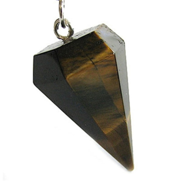 6 Side coin Shape Yellow Tiger eye pendant 30*20mm