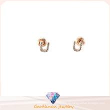 Carta de la forma 2015 superior de la venta de oro carta U pendientes de perlas de rodio plateada joyas de moda vintage para las mujeres E6374