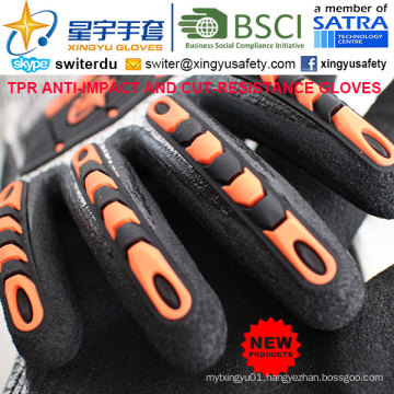 Cut-Resistance and Anti-Impact TPR Gloves, 18g Hppe Shell Cut-Level 3, Sandy Nitrile Palm Coated, Anti-Impact TPR on Back Mechanic Gloves