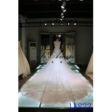 Sweetheart Soft Net Wedding Dresses with Long Train