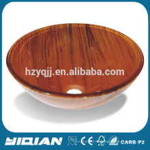 Neues Design Holz Farbe gehärtetes Glas Becken Runde Form Herstellung Glas Schüssel Waschbecken