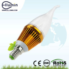 best price golden color dimmable 3w led candle bulb