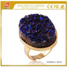 Verstellbares Metall vergoldet Gold Größe von Edelstein 25x35mm Gold Ringe mit natürlichen Druzy Achat Kristall Edelstein