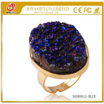 Metal ajustável Ouro Tamanho de gemstone 25x35mm Anéis de Ouro com Druzy Natural Ágata Cristal Gemstone
