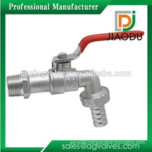 "Factory high quality 1/2""or 3/4"" forged nickel plated brass bathroom water bibcock with hose unin and red steel handle"