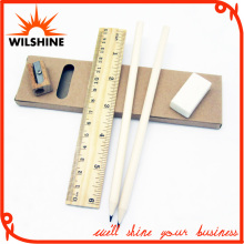 Wooden Stationery Pencil Set with Sharpener and Ruler for Promotion (MP015)