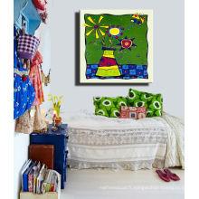Peinture en toile abstrait pour le décor de salle pour enfants de l'impression personnalisée
