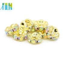 Venta caliente IA0206 Chapado en oro Metal Cobre AB Color Rhinestone Spacer Beads para la venta