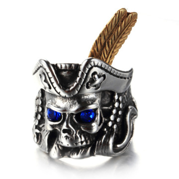 Pirate king Night club sapphire skull ring