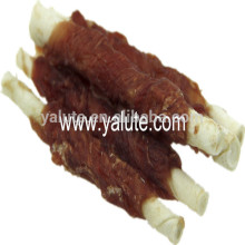 Bone shape dog food duck and twisted rawhide wraps