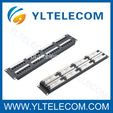 2U 19 polegadas 48port(6*8) Patch Panel com tipo de rótulo Cat. 5E e Cat. 6