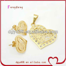 Ensemble de bijoux de coeur de mode en acier inoxydable pour les femmes fournisseur