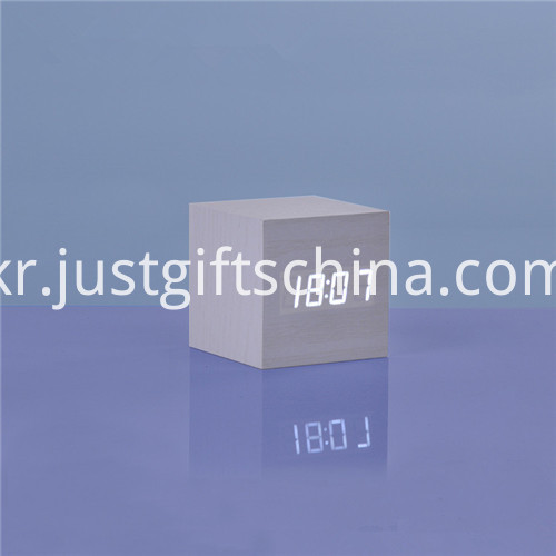Promotional LED Wooden Square Desk Clock 3