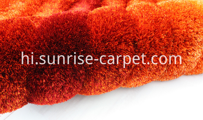 Polyester Shaggy 3D design in Red and Orange color