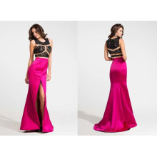 Illusion Lace and Satin Evening Dress
