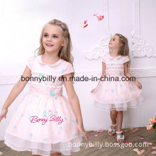 Pink Flower Printing Children Party Dress 1076#