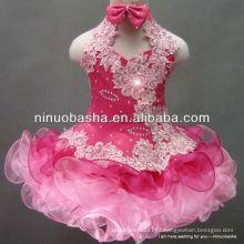 NW-337 Lovey Organza saia Applique com Hot Fix Rhinestone Flower Girl Dress