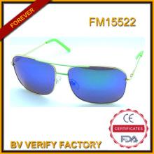Nouvelles lunettes de soleil métalliques bleu polarisé lentille, FM15522 de haute qualité