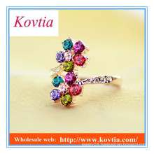 Fashion delicate colorful crystal flower shape bypass ring magnet