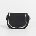 Rivet decorative black saddle bag