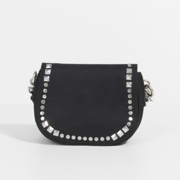Rivet decorative black saddle bag