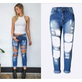 RM1608 Women's Destroyed Hole Denim Pencil Pants